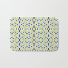 abstract geometry retro style floral pattern with yellow flowers on a light blue background Bath Mat