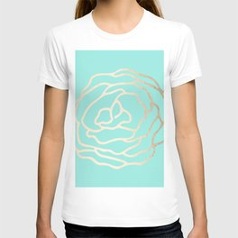 Flower in White Gold Sands on Tropical Sea Blue T-shirt