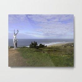Veado Surfer Statue Metal Print