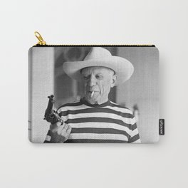 Pablo Picasso With A Gun, home decor , vintage photography, icon , print, photography, wall art, famous artist Carry-All Pouch