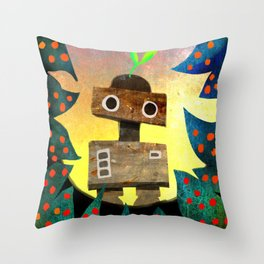 Robot in the Forest Throw Pillow