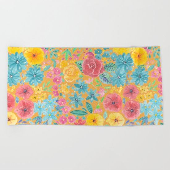 Floral watercolor pattern in yellow Beach Towel
