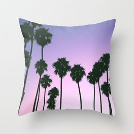 Palm Tree Purple Sunset Throw Pillow