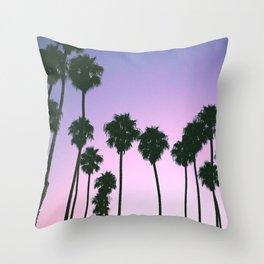 Palm Tree Purple Sunset Throw Pillow