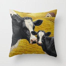 Holstein Cow and Cute Calf Throw Pillow