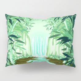 Fluorescent Waterfall on Surreal Bamboo Forest Pillow Sham