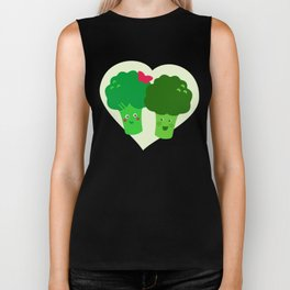 Broccoli in love Biker Tank