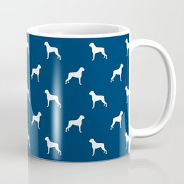 Boxer dog breed pattern dog gifts navy and white minimal dog silhouette Coffee Mug
