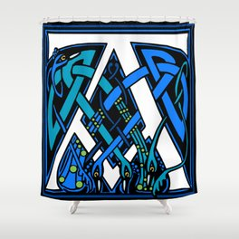 Celtic Peacocks letter A Shower Curtain