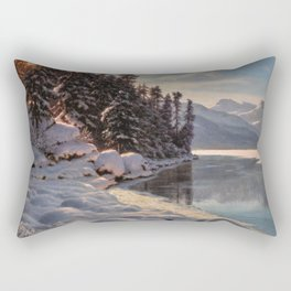 Winter Sunrise Lakeside in the Mountains by Ivan Fedorovich Choultsé Rectangular Pillow