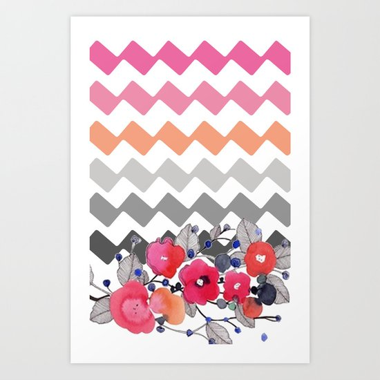 Colourful Flowers and Zig Zags Art Print