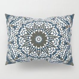 BLUE, GREY AND WHITE MANDALA  Pillow Sham