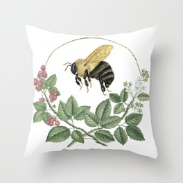 Bombus & Raspberries Throw Pillow