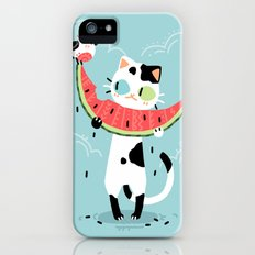 Watermelon Cat iPhone SE Slim Case