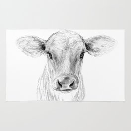 Moo ::  A Young Jersey Cow Rug