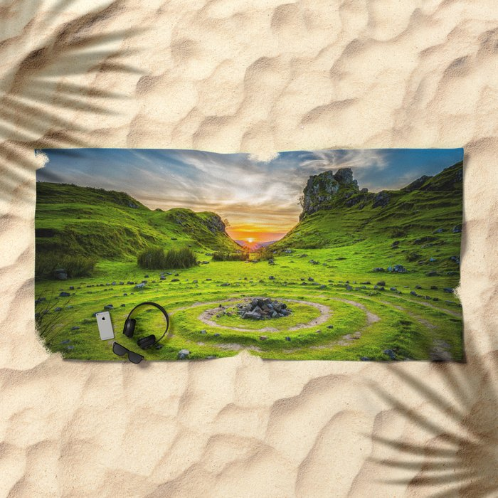 Fairytale Landscape, Isle of Skye, Scotland Beach Towel