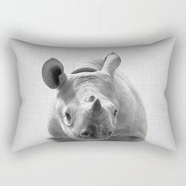 Baby Rhino - Black & White Rectangular Pillow