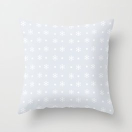 Light Grey background with white snowflakes and stars pattern Throw Pillow