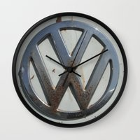 vw bus Wall Clocks featuring Rusty VW Bus Symbol by wildVWflower