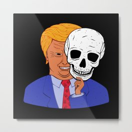 Scary Trump with Halloween Skeleton Mask Metal Print