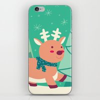 reindeer iPhone & iPod Skins featuring Reindeer by Claire Lordon