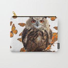 ORANGE BUTTERFLIES OWL IN TREE WHITE ART DESIGN ART Carry-All Pouch