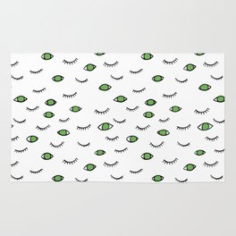 Green eyes and eye lashes, black and white, pattern Rug