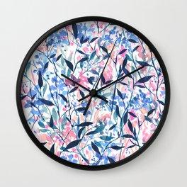 Wandering Wildflowers Blue Wall Clock