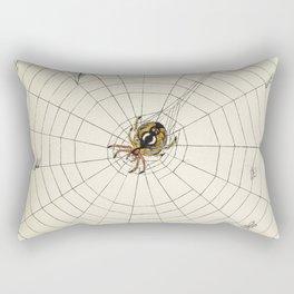 Vintage Garden Spider with Web Illustration (1891) Rectangular Pillow