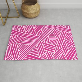 Abstract pink & white Lines and Triangles Pattern - Mix and Match with Simplicity of Life Rug