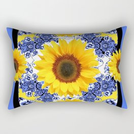 Abstracted  Fuchsia Dahlias Geometric Stylized Floral Grey Rectangular Pillow
