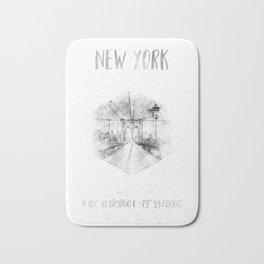 Coordinates NYC Brooklyn Bridge |watercolor monochrome Bath Mat