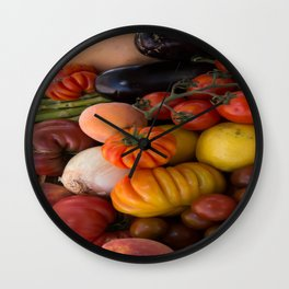 Beautiful Basket of Fruits and Vegetables Wall Clock