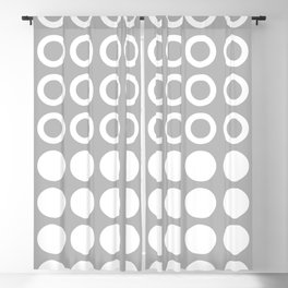 Mid Century Modern Circles And Dots Grey Blackout Curtain
