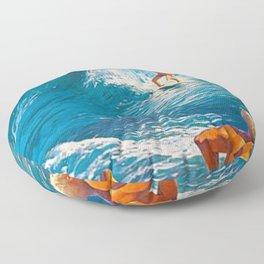 Hawaiian Surfer's Vintage Advertisement Poster Floor Pillow