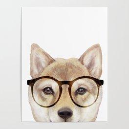 Shiba inu with glasses Dog illustration original painting print Poster