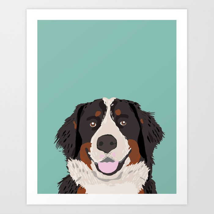 Bernese Mountain Dog pet portrait dog art illustration fur baby ...