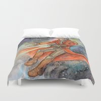 star lord Duvet Covers featuring Star-Lord Watercolor by Melissa M.