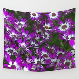 Purple And White Daisy Flowers Wall Tapestry