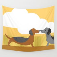 puppy Wall Tapestries featuring Puppy Love by Steph Dillon