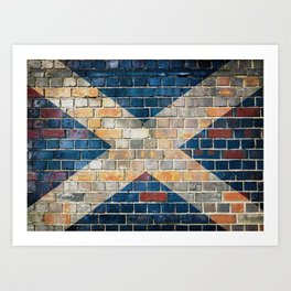 Scotland flag on a brick wall Art Print