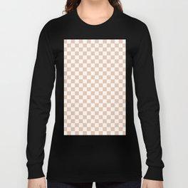 Small Checkered - White and Desert Sand Orange Long Sleeve T-shirt