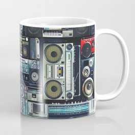 Vintage wall full of radio boombox of the 80s Coffee Mug