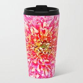 Pink Watercolor Flower Metal Travel Mug