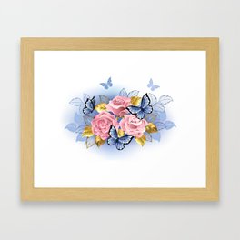 Three Pink Roses with Butterflies Framed Art Print