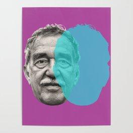 Gabriel Garcia Marquez - purple blue portrait Poster