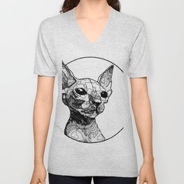Inside out sphynx cat Unisex V-Neck