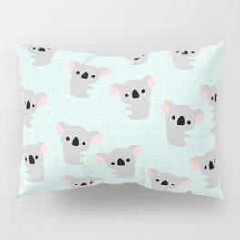 Cute Koala Bear Print on Blue Background Pillow Sham