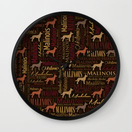 Belgian Malinois Dog Word Art pattern Wall Clock