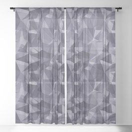 Abstract Geometrical Triangle Patterns 3 VA Mystical Purple - Metropolis Lilac - Dried Lilacs Sheer Curtain